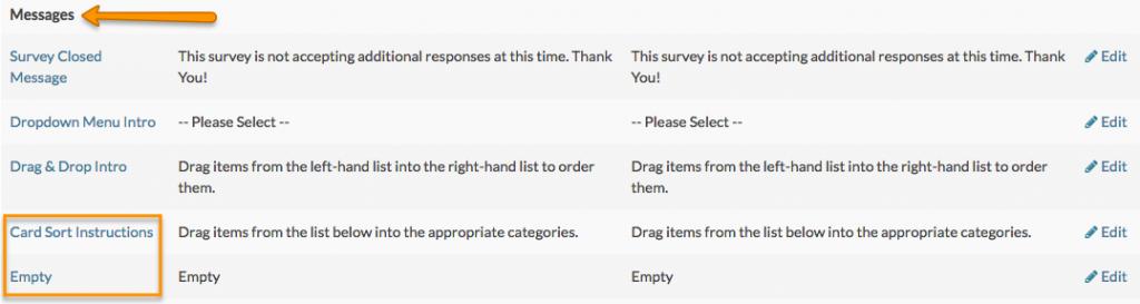 changing survey question messages