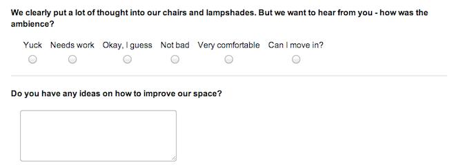 SurveyGizmo Blog: Example 2 of a restaurant customer survey.