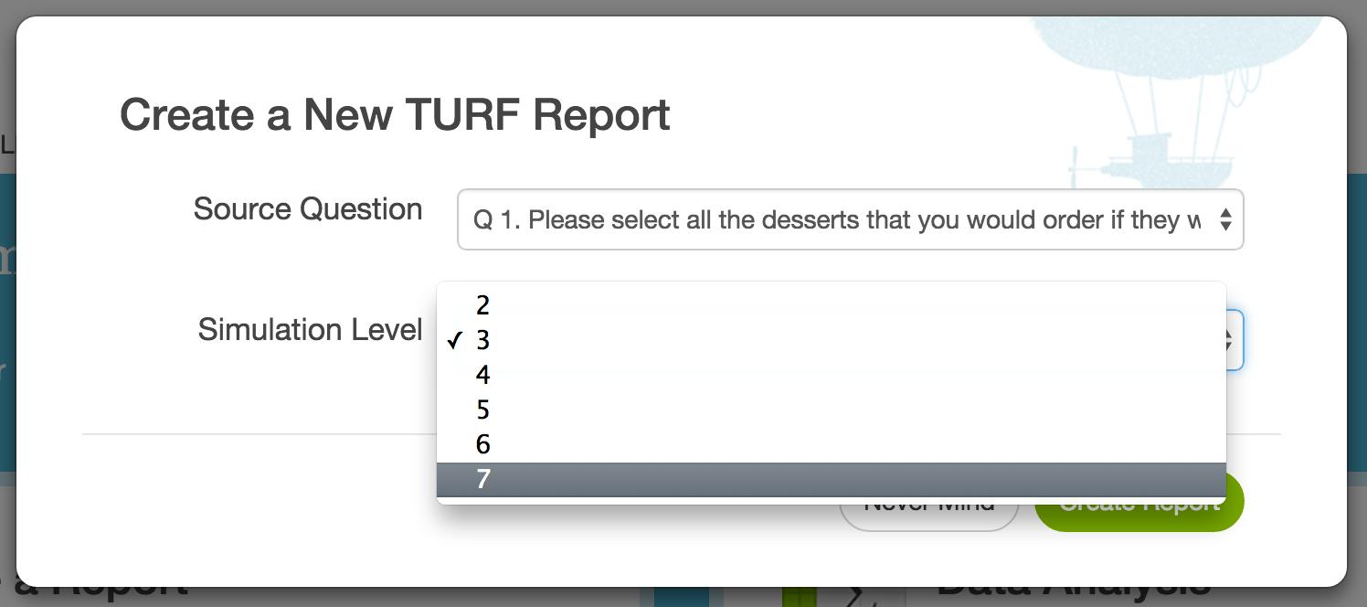SurveyGizmo TURF Analysis Create a New TURF Report