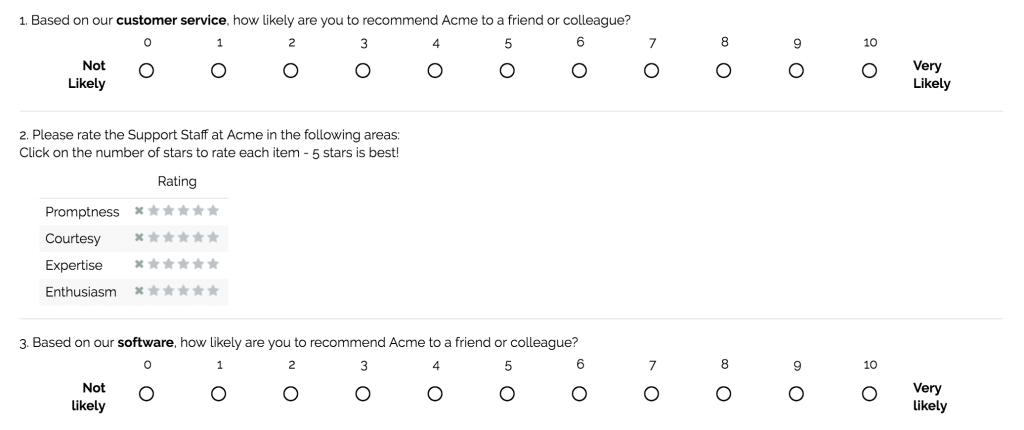 SurveyGizmo Sample Survey Questions Customer Service 1