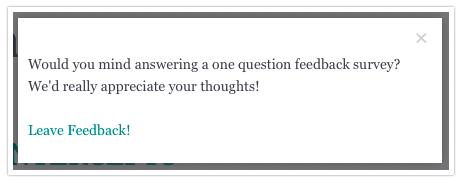 SurveyGizmo Blog: How Website Intercept Surveys Can Give You Feedback - example of website intercept survey